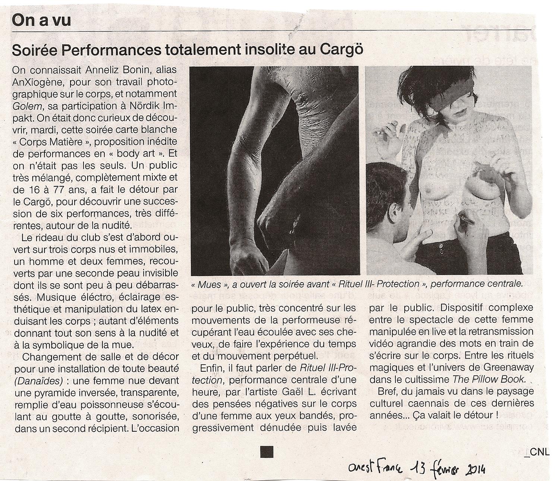 Corps Matière #1 • Ouest France (13 février 2014)