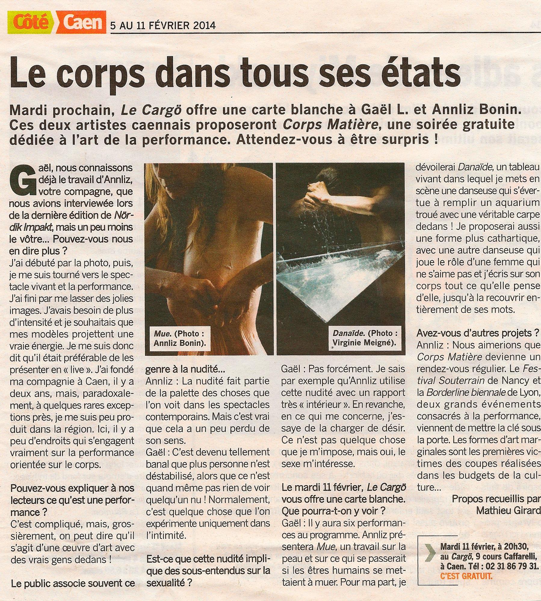 Corps Matière #1 • Côté Caen (5 février 2014)